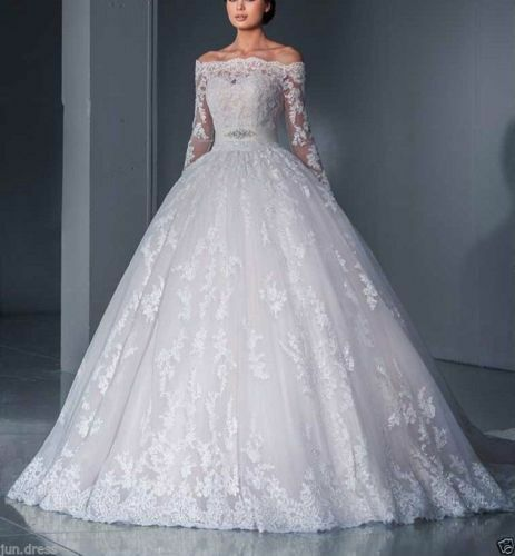 New half sleeve lace wedding dress white ivory bridal for Sell your wedding dress online for free