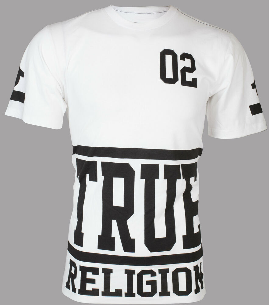 TRUE RELIGION Mens T-Shirt STARTER White with Black Print ... True Religion Shirts White