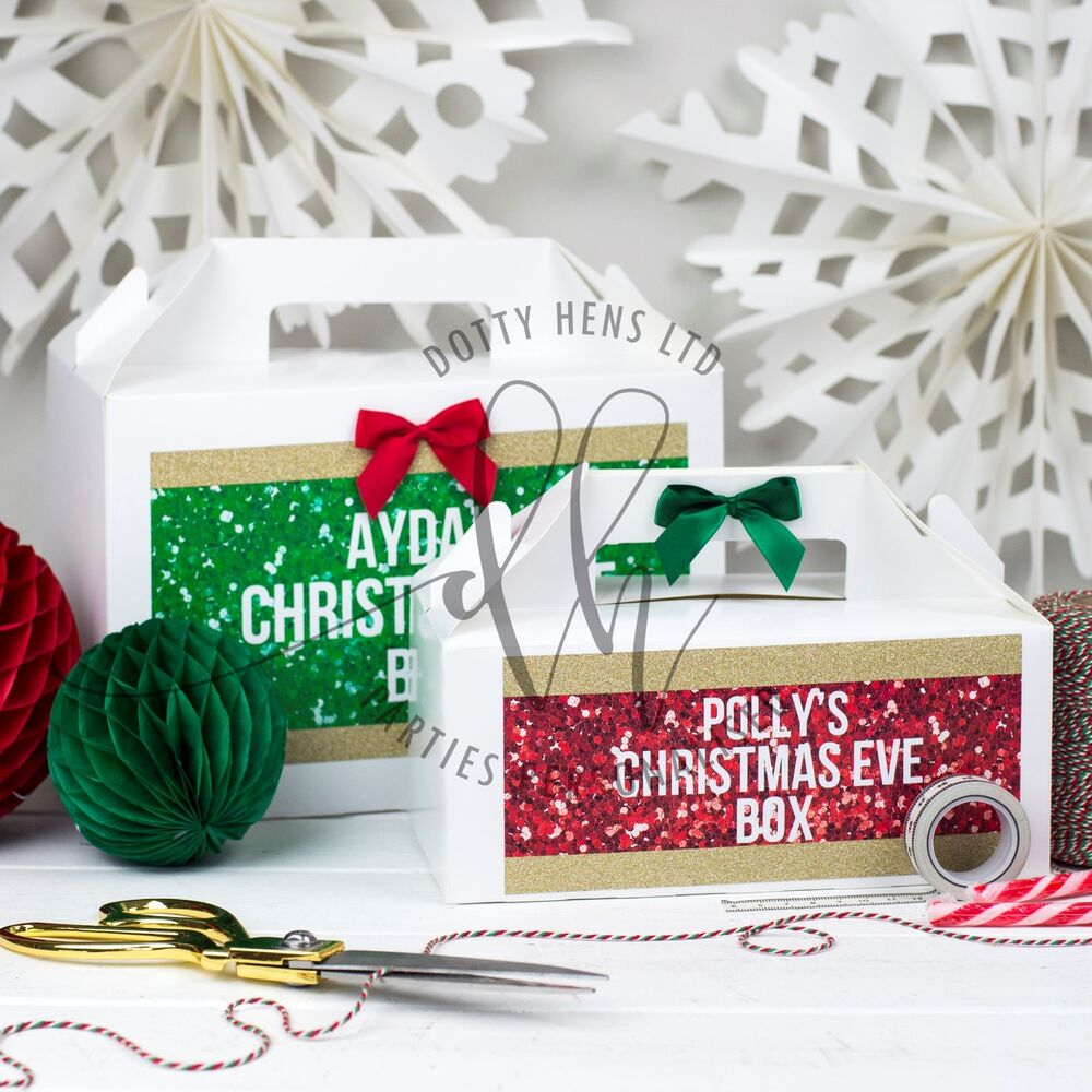 PERSONALISED CHRISTMAS EVE BOX | XMAS SPARKLE GLITTER | GIFT PRESENT ...