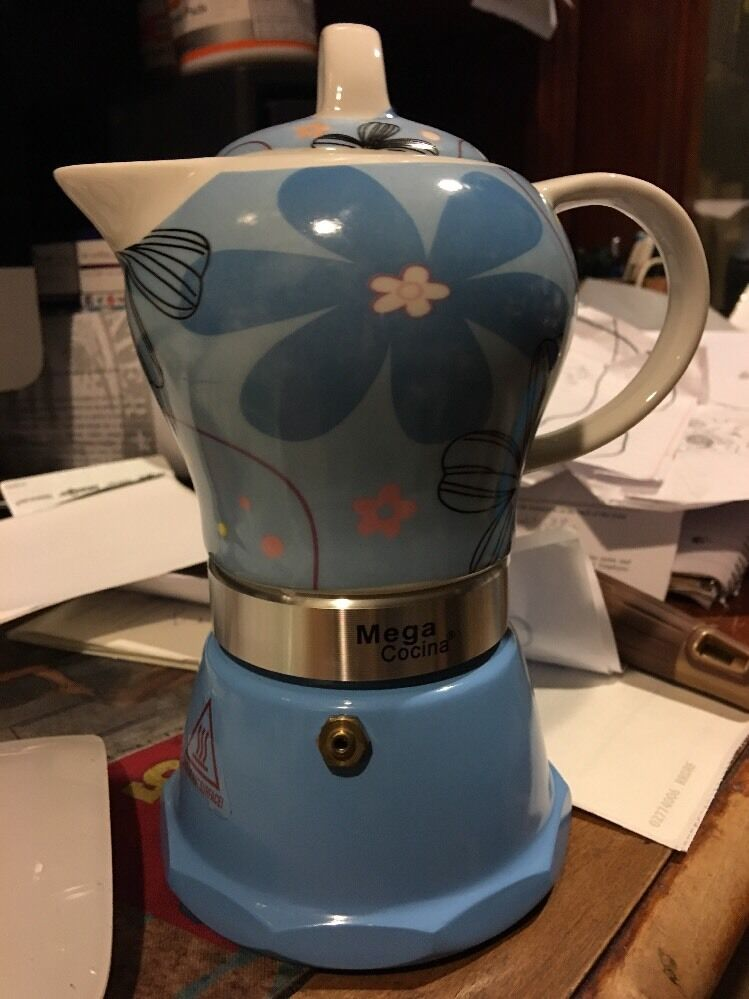 Cuban Coffee Maker Name : Stove top Espresso cuban coffee Maker pot,cappuccino Blue 4 Cup Cafetera Flower eBay