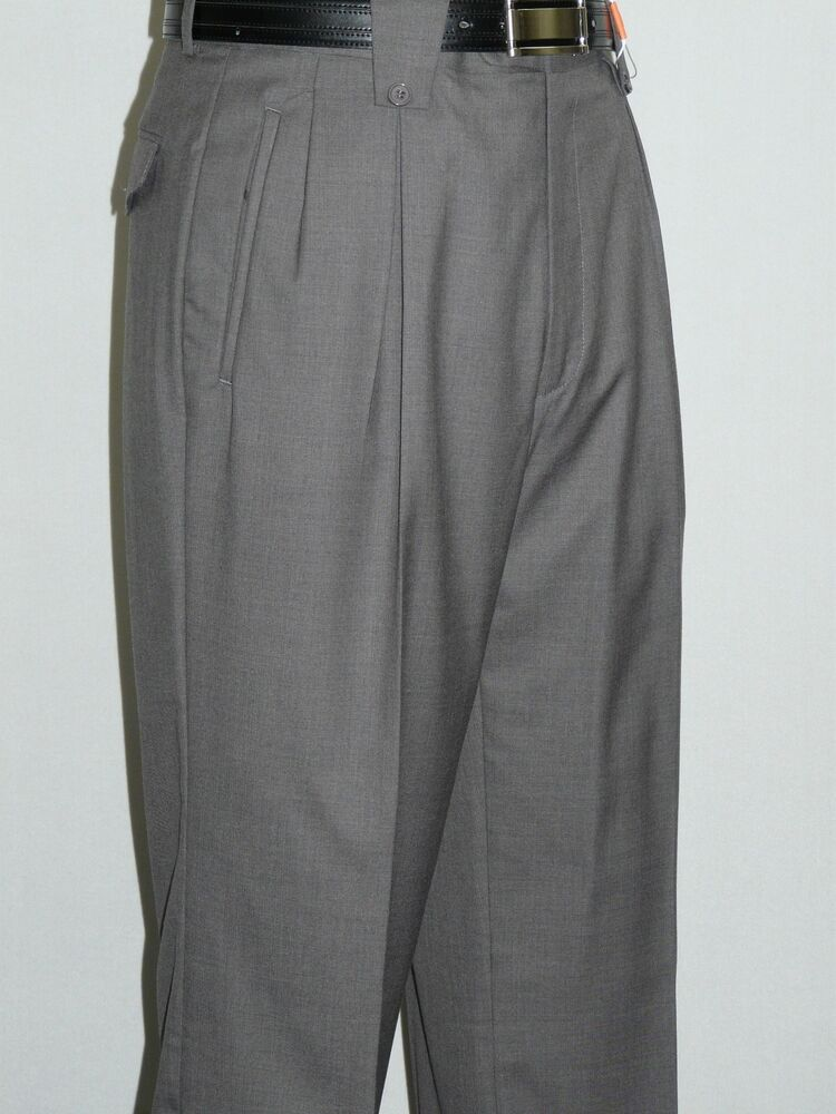 Men's Wide Leg Gray Pants by Veronesi Pleated front Super ...