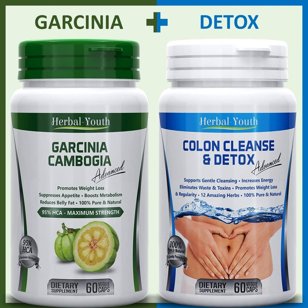 120 DIET PILLS 60 GARCINIA CAMBOGIA PILLS 95% HCA + 60 COLON CLEANSE DETOX PILLS | eBay