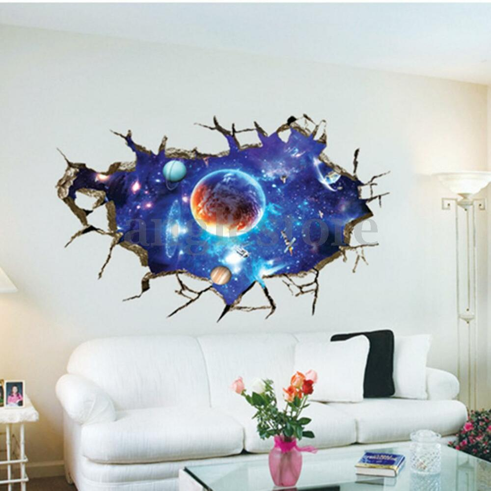 3d planet outer space wall stickers home decor mural art for Sticker mural 3d
