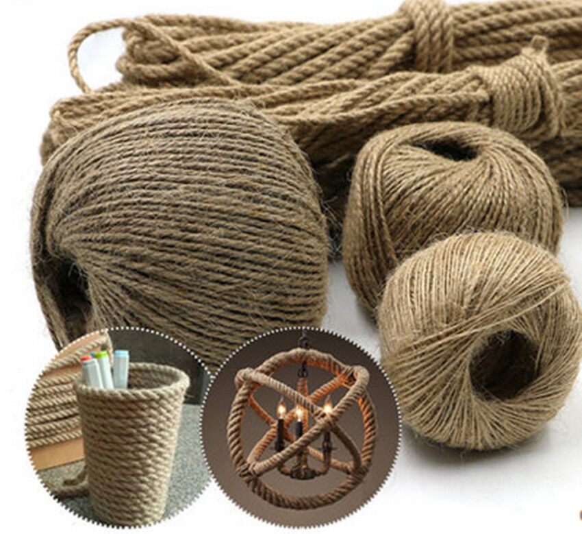 1 4mm 20m twisted craft linen rope diy natural burlap jute for Diy jute