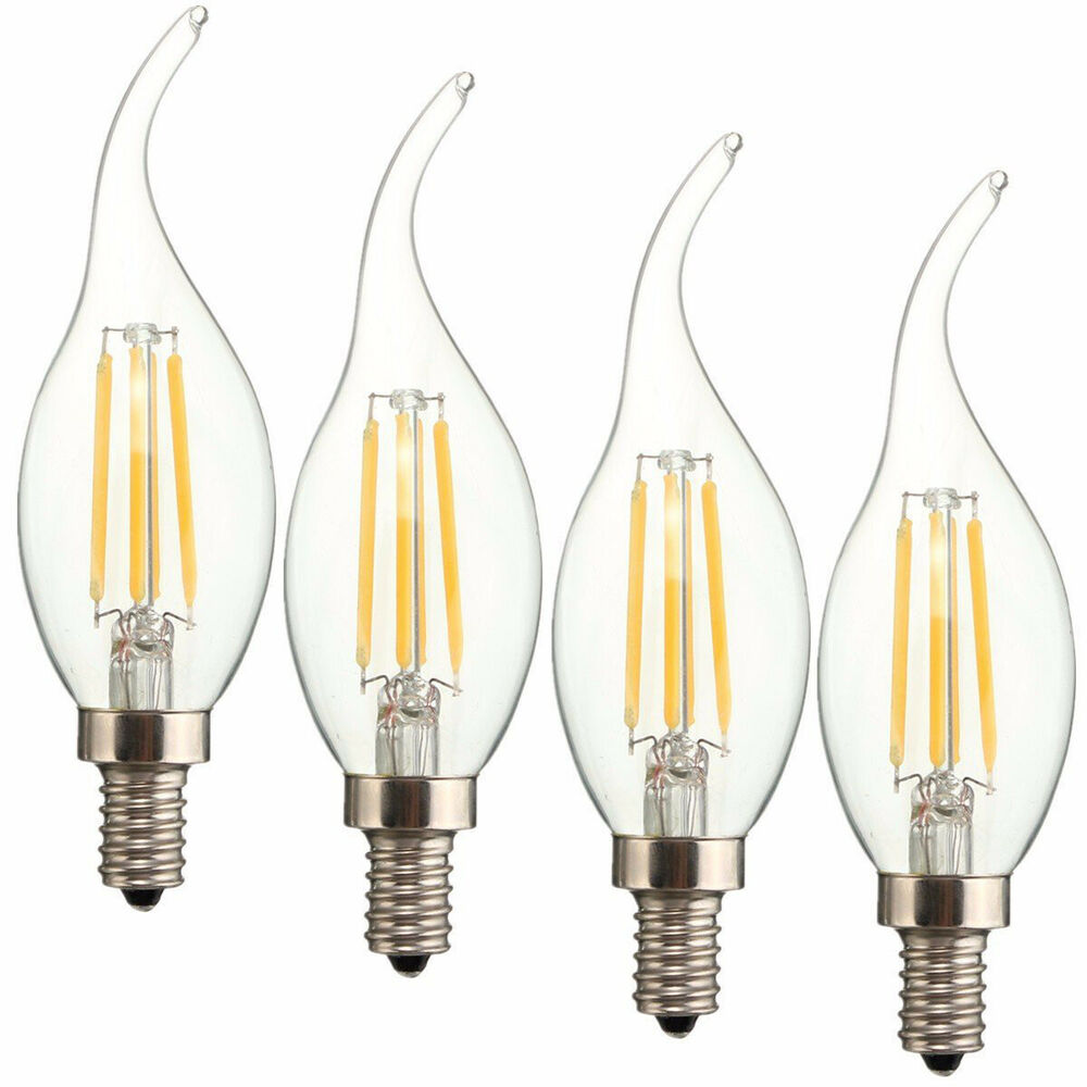 Candelabra Led Bulb: 4 Pack 4W Dimmable LED Filament Lights Bulbs E12
