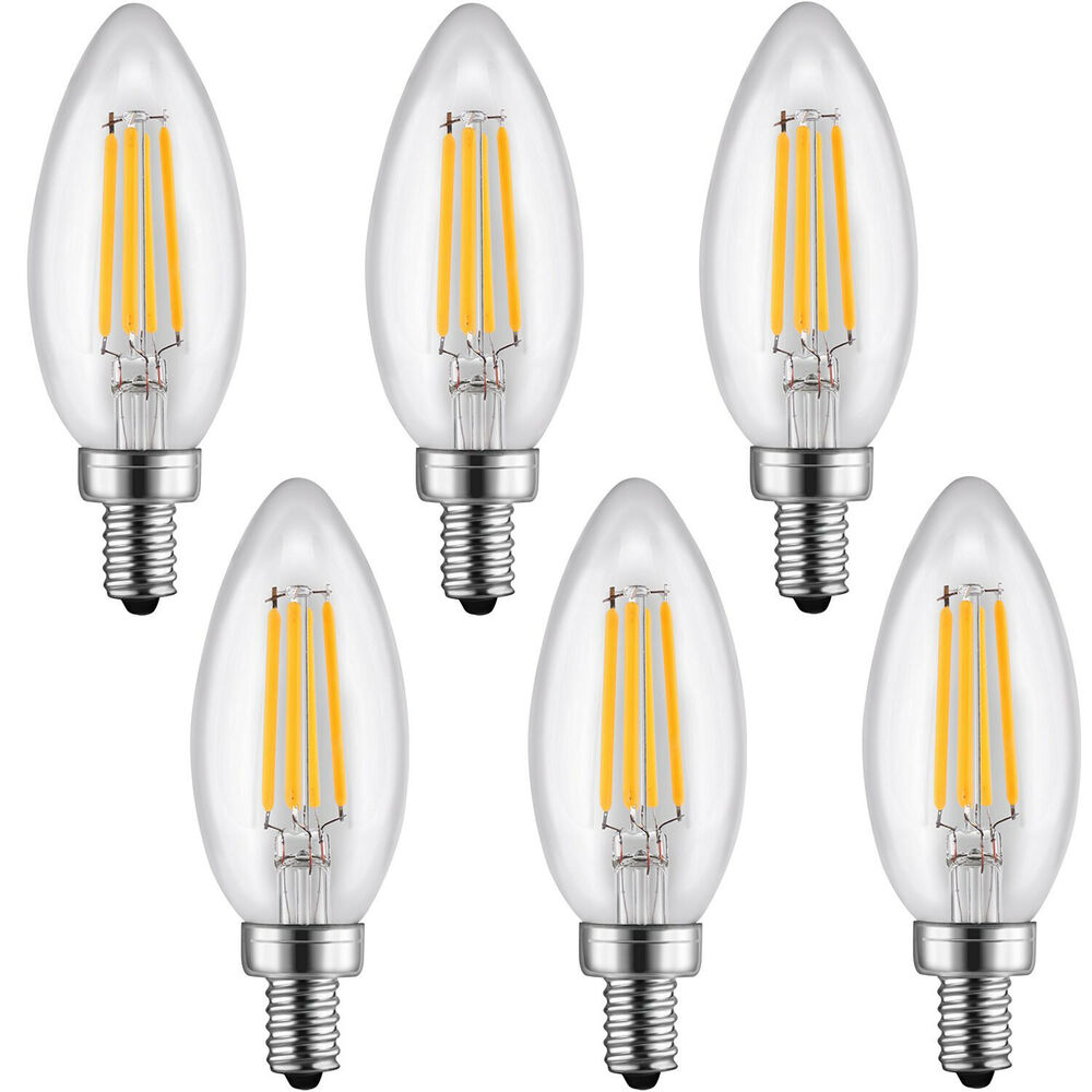 Candelabra Led Bulb: 6Pack LED Filament Candelabra Clear Bulbs E12 Base 4W