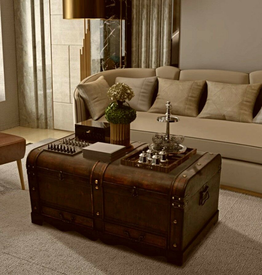Coffee Table With Storage Wooden Treasure Chest Large Vintage Trunk Antique Box Ebay