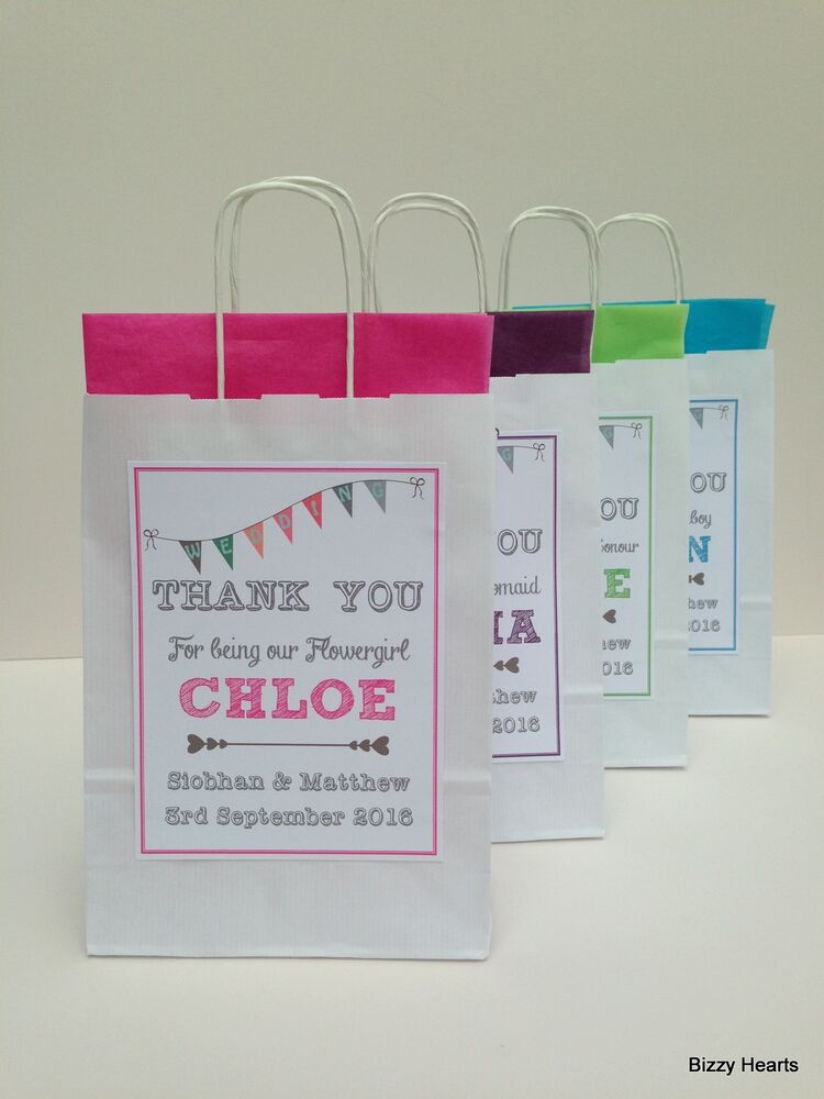 Personalised Wedding Paper Gift Bags : PERSONALISED PAPER WEDDING FAVOUR PARTY GIFT BAG BUNTING DESIGN WHITE ...