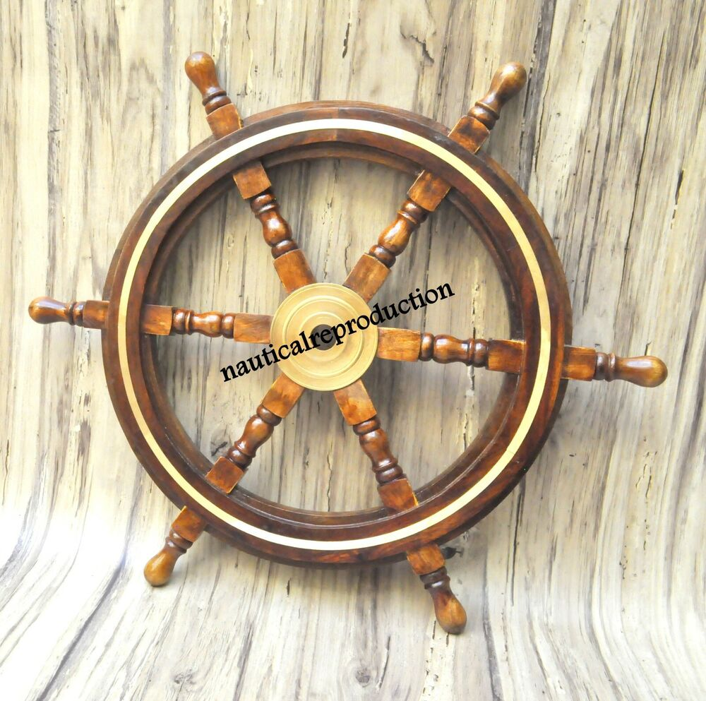 "Nautical Wheel Decor: 24""NAUTICAL WOODEN SHIP STEERING WHEEL PIRATE DECOR WOOD"
