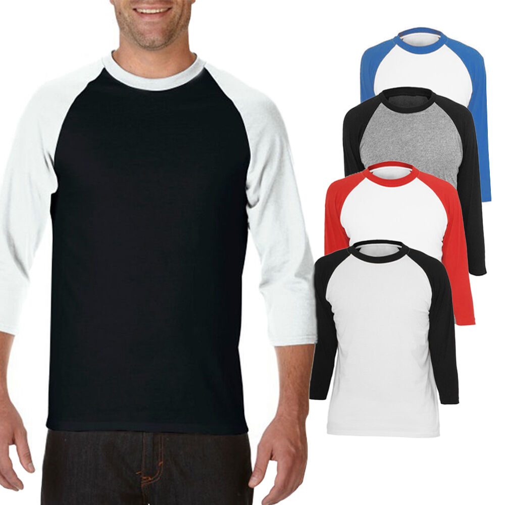 Pro tag 100 cotton 3 4 sleeve raglan baseball shirt in white black - Men Blank Raglan 3 4 Sleeve Crew Neck Sport Baseball Tee Jersey T Shirt Tops Us Ebay