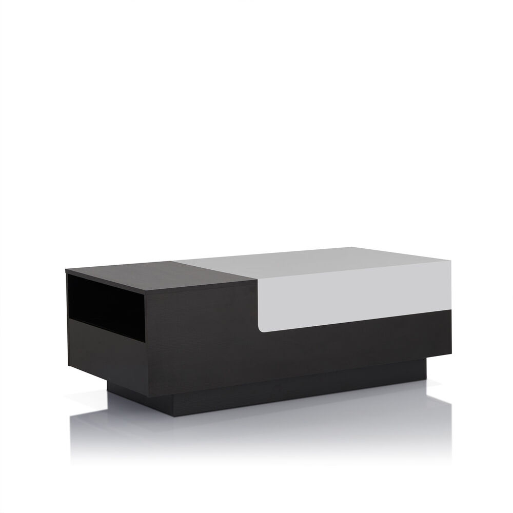 Furniture of america laustor modern two tone black white for Furniture of america coffee table