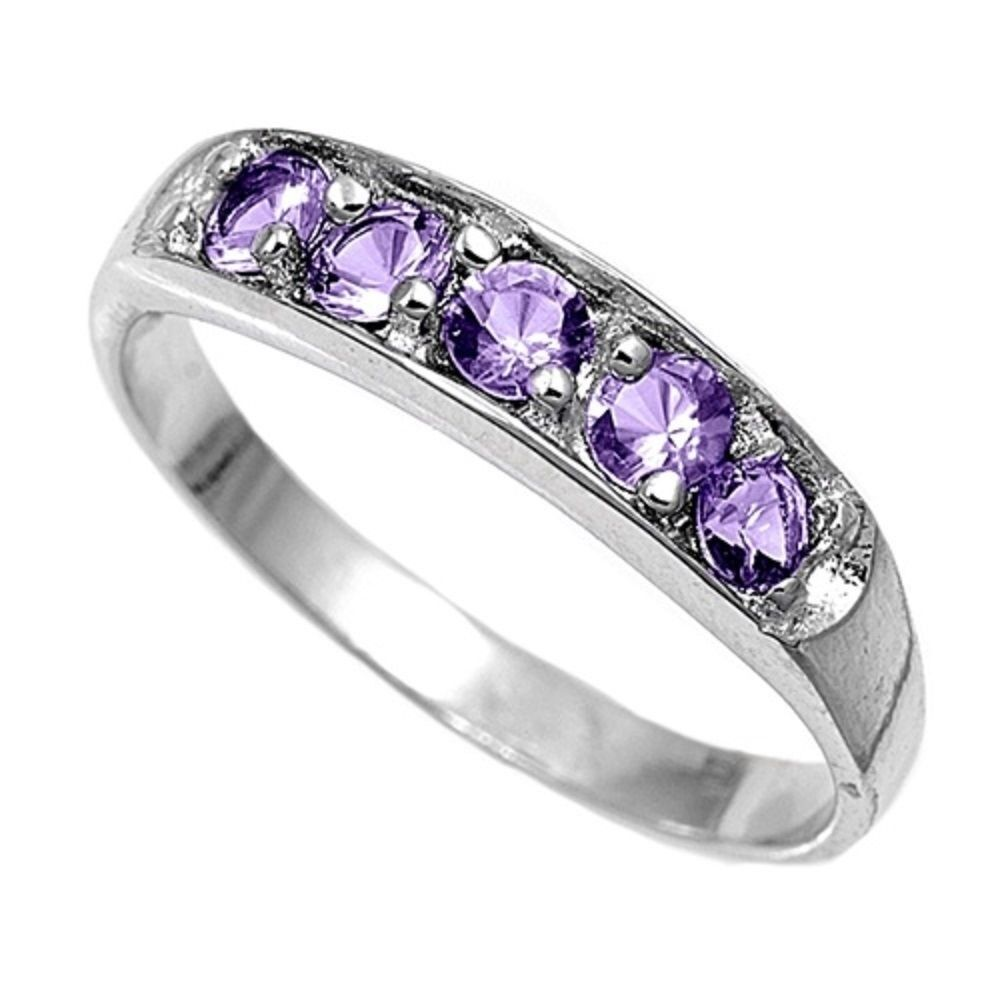 Sterling Silver Cz Amethyst Baby Or Pinky Ring Size 1 Ebay