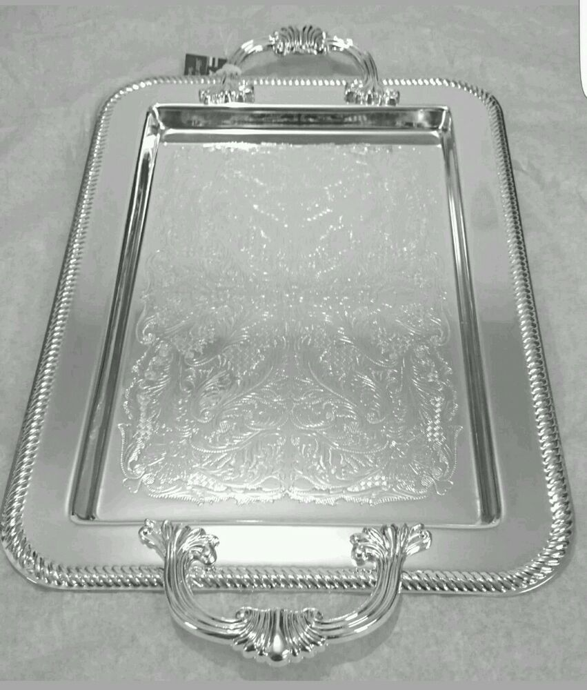 Silver Plated Tray Tableware With Handles Tarnish