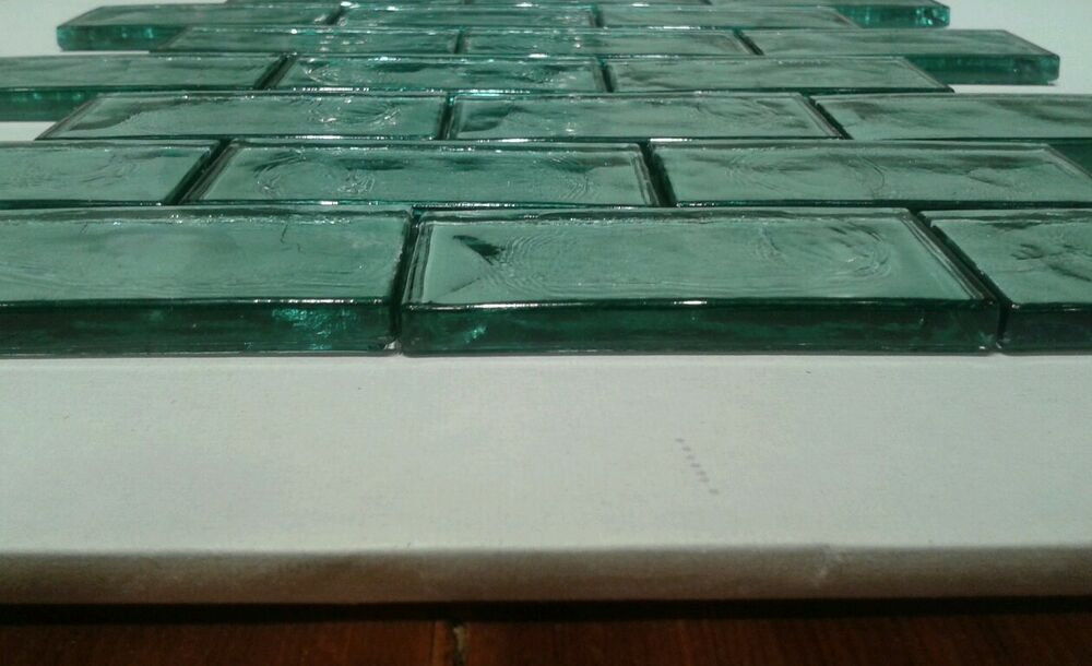 Aqua Subway Tile Distressed Sea Glass Wavy Spa Kitchen