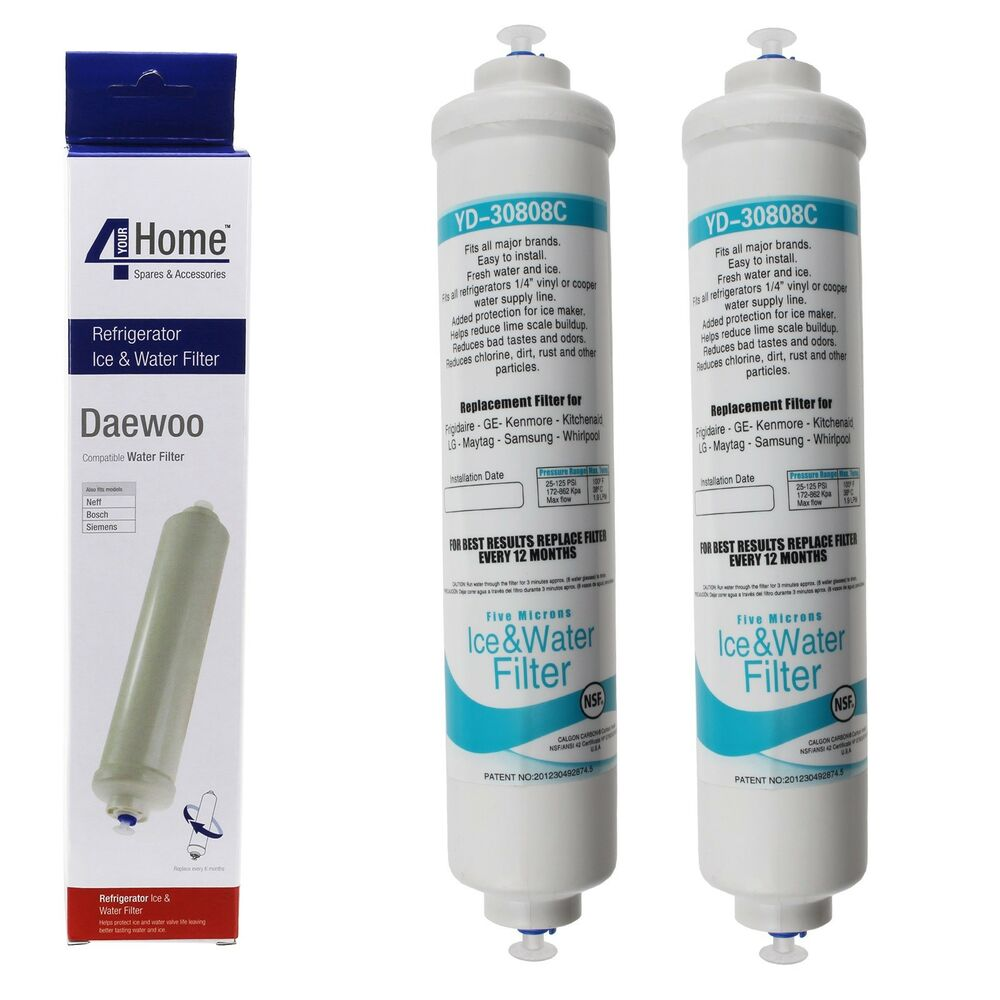 2 x activated carbon water filters for daewoo american style fridge freezers 5057726051842 ebay. Black Bedroom Furniture Sets. Home Design Ideas