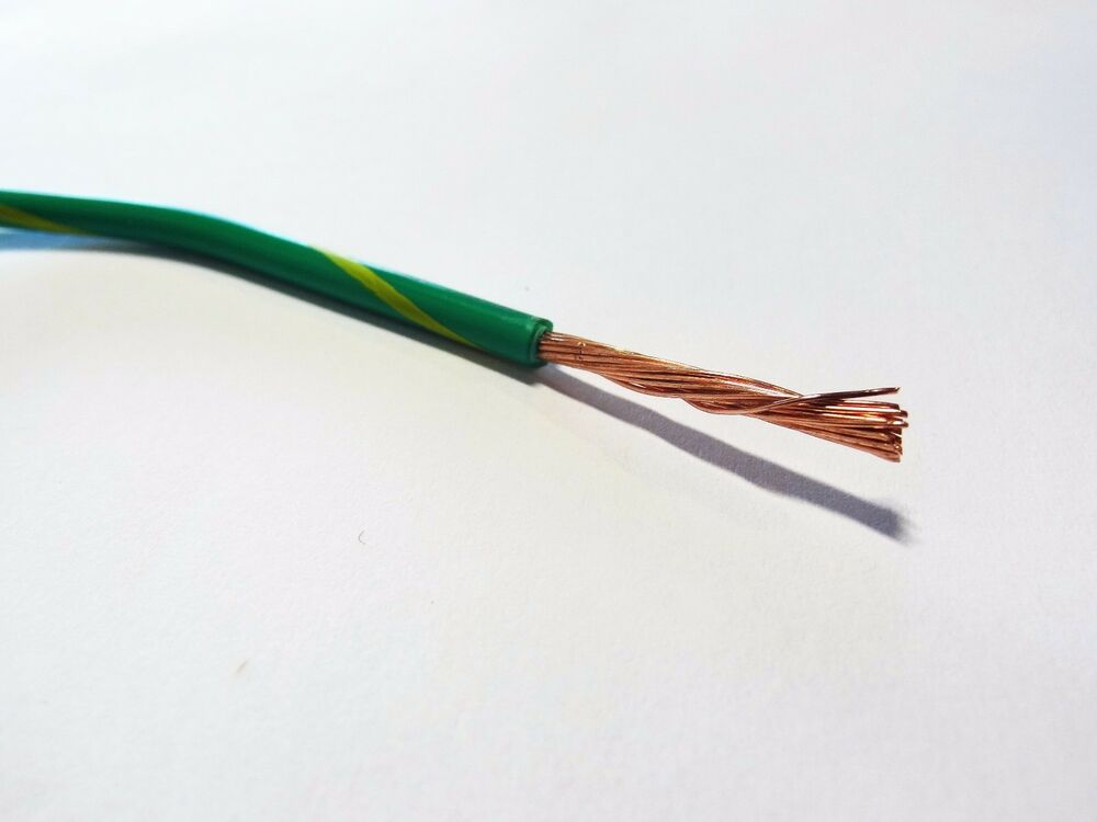 De S About 16 Gauge Ground Wire Green W Yellow 50 Ft Primary Awg Stranded Copper Power