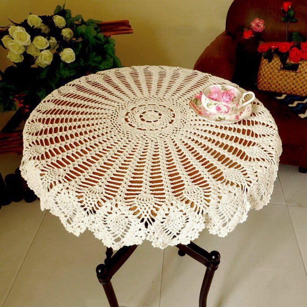 hand crochet tablecloth cotton hollow round table cover vintage home decor ebay. Black Bedroom Furniture Sets. Home Design Ideas