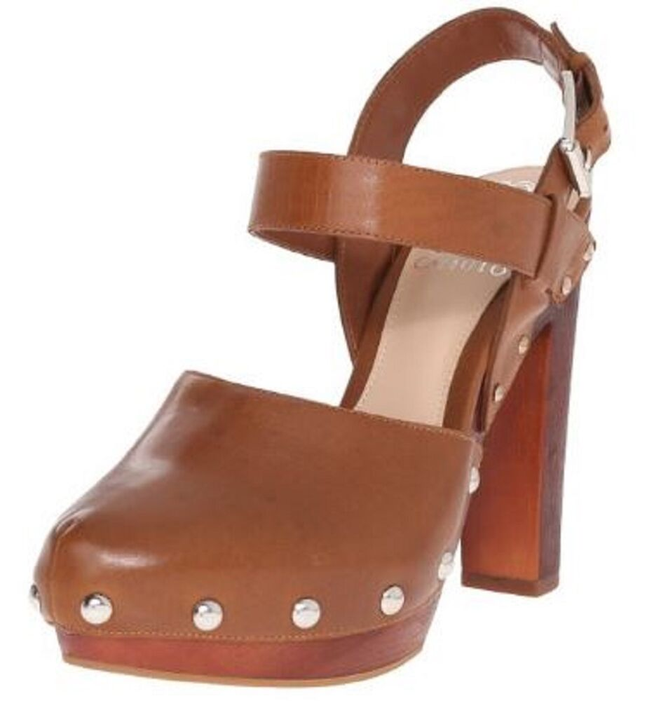 fa465b40639 Details about Women s Vince Camuto Elric Platform Heels Mules Clogs Studded  Leather Toffee