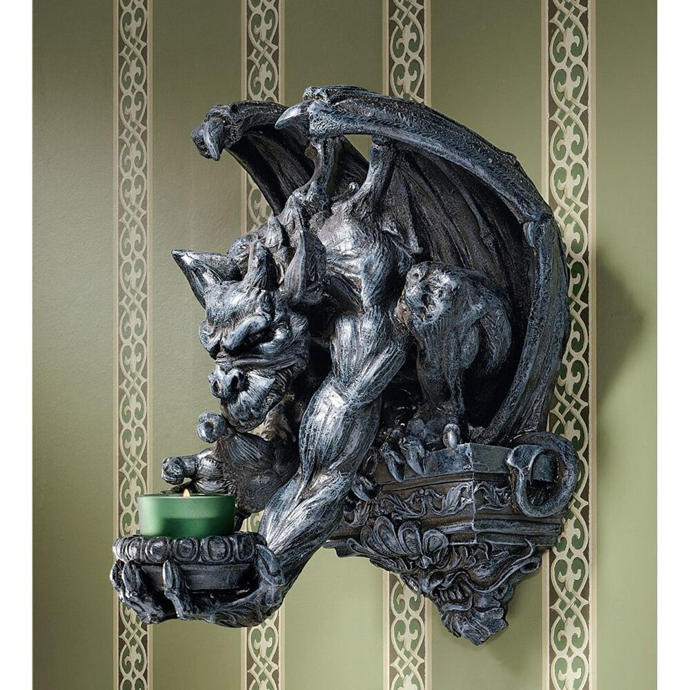 Gargoyle gargouille statue wall candle holder medieval for Medieval decor