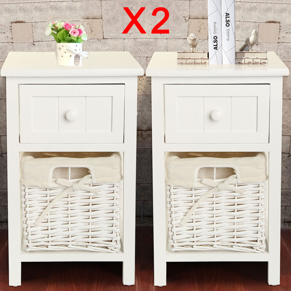 Pair Of Shabby Chic White Bedside Tables Drawers With