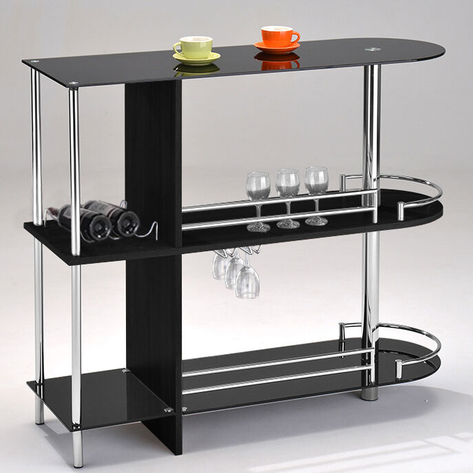 Kings Brand Furniture Bar Table With Two Black Tempered