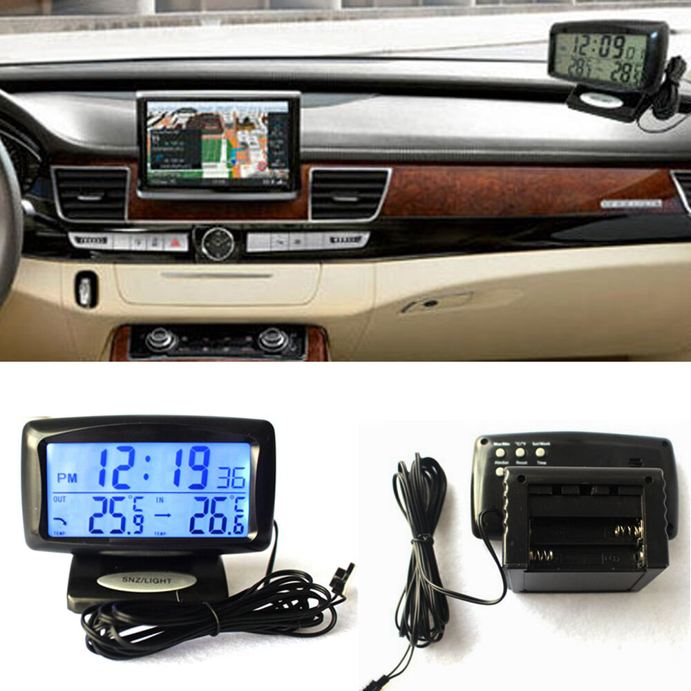 car auto electronic digital clock thermometer temperature with backlight ebay. Black Bedroom Furniture Sets. Home Design Ideas