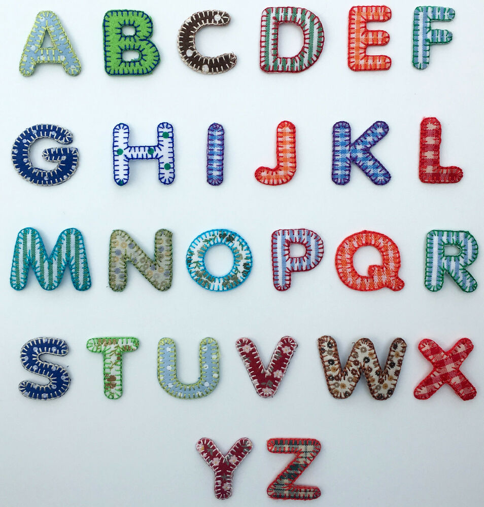 Boys alphabet letters embroidered motif fabric iron on for Embroidered alphabet letters