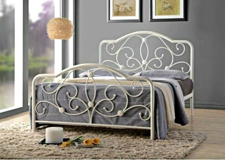White victorian metal bed frame : Victorian style metal bed frame white double size french