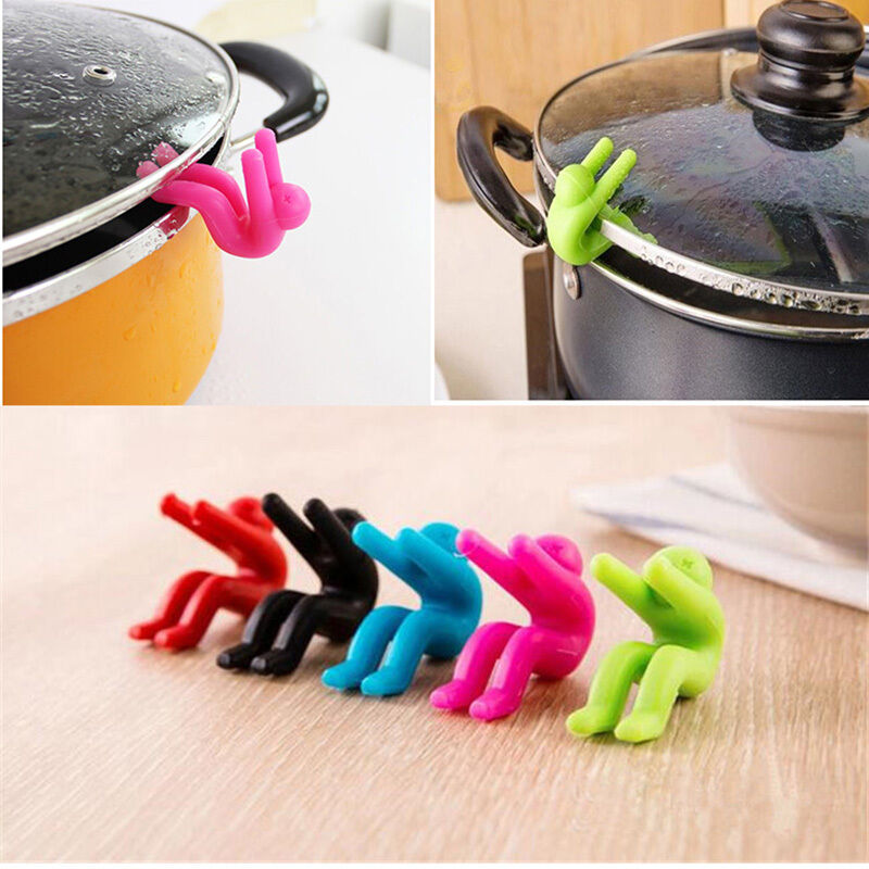 Kitchen Spills: 2PCS Silicone Holders Cooking Gadget Spill-proof Lids