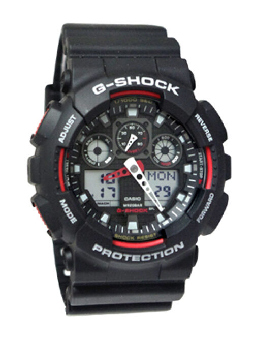 Casio GA100-1A4 G-Shock X-Large Red Black Ana/Digi Men ...