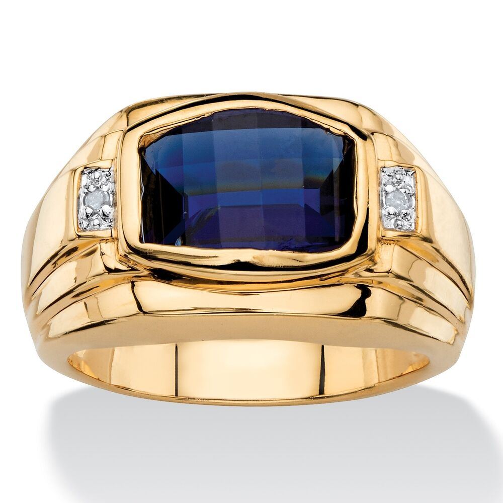blue sapphire mens 18k gold diamond accent gp ring size 8. Black Bedroom Furniture Sets. Home Design Ideas