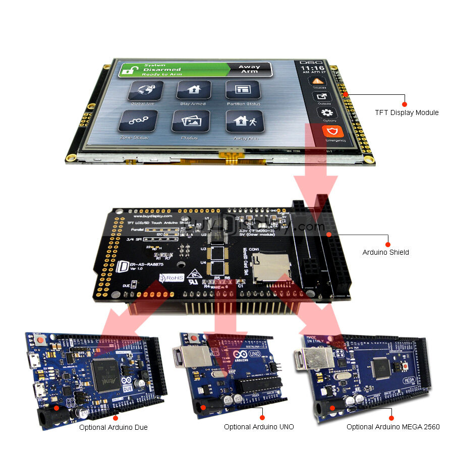 Serial spi quot inch tft lcd touch shield for