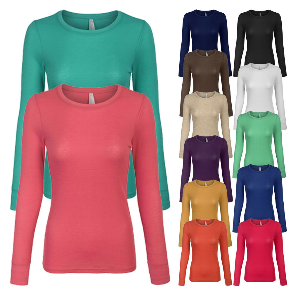 Women 39 s basic lightweight thermal long sleeve crew neck t for Womans long sleeve shirts