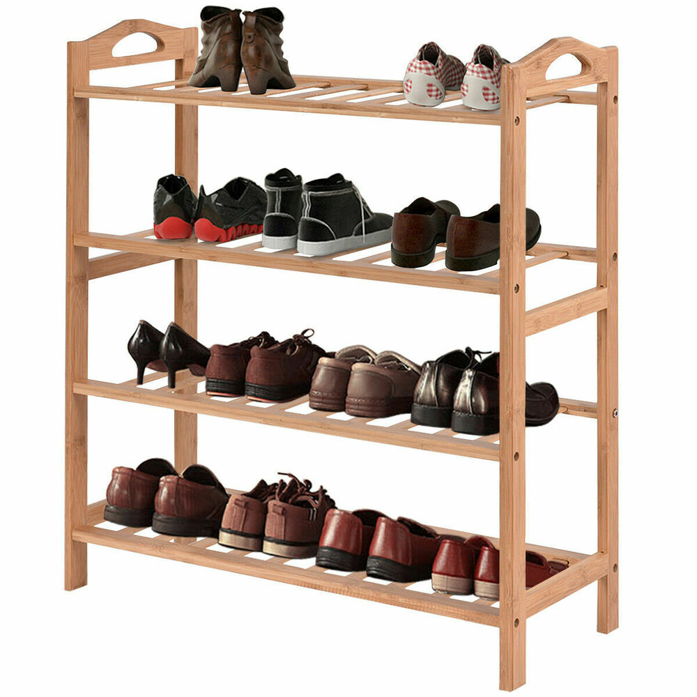 tier bamboo shoe rack entryway shoe shelf holder storage organizer