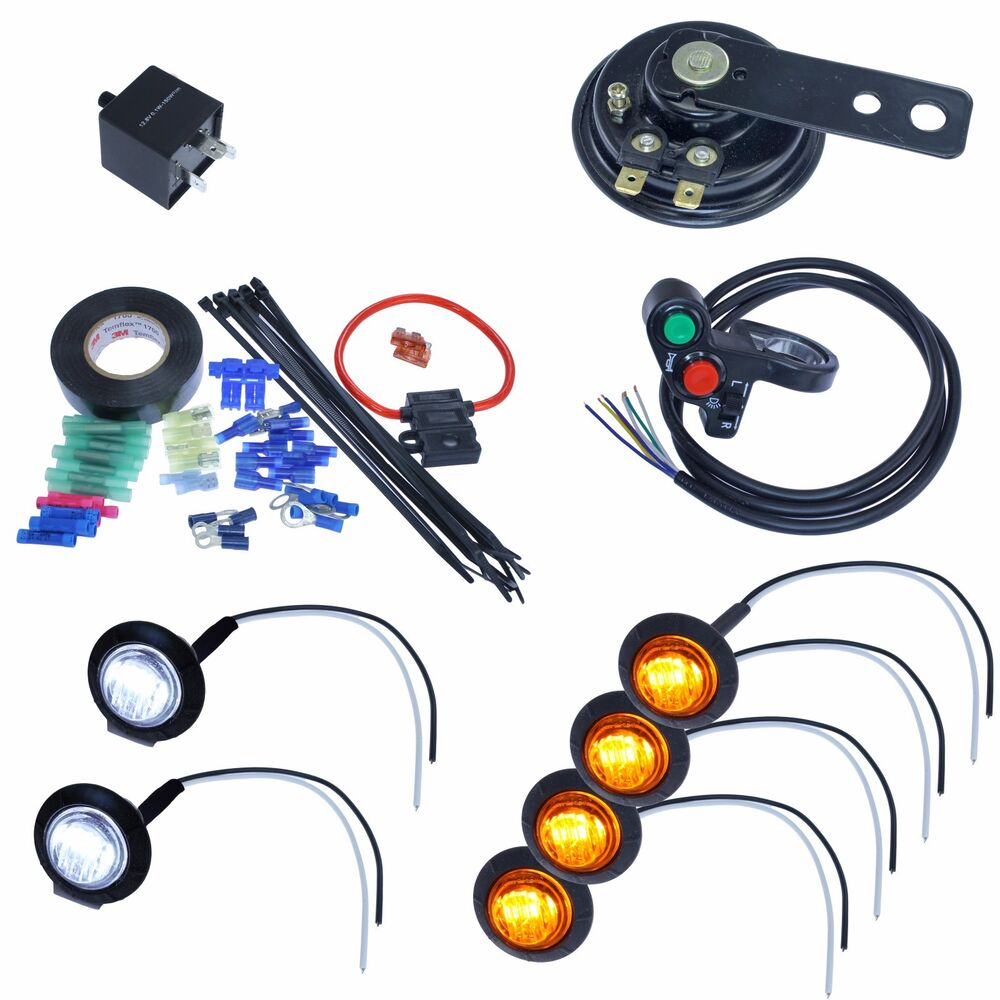 led turn signal kit with 4way horn for atv scooter moped. Black Bedroom Furniture Sets. Home Design Ideas