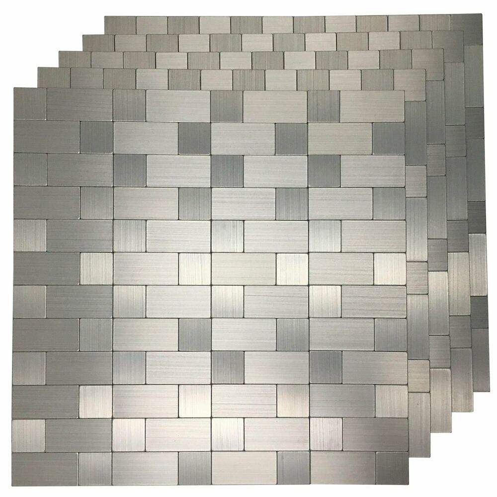 peel and stick metal backsplash tile for kitchen bathroom walls silver square ebay. Black Bedroom Furniture Sets. Home Design Ideas