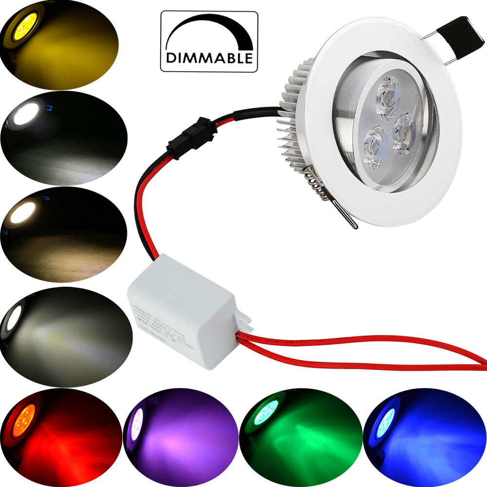 Dimmabe 3W 6W Multi Color LED Recessed Ceiling Down Bulb