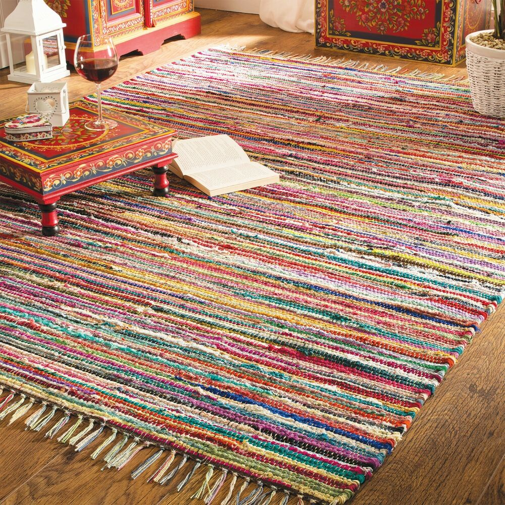 Fair Trade Chindi Rag Rug 12 Sizes Recycled Multicoloured