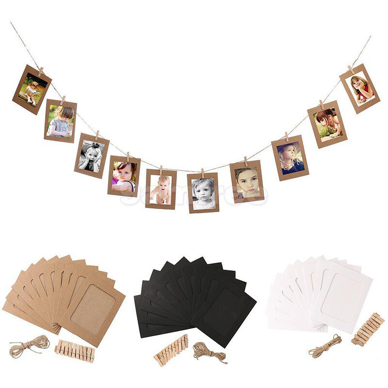 10 set paper photo frame wall film picture hanging rope for Photo clip wall frame