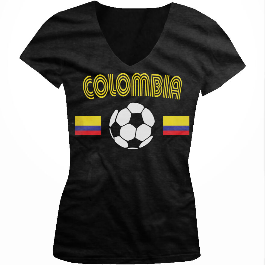 dd26eb9e38e Details about Colombia Soccer Ball Flag - Colombian Pride Futbol Juniors  V-neck T-shirt
