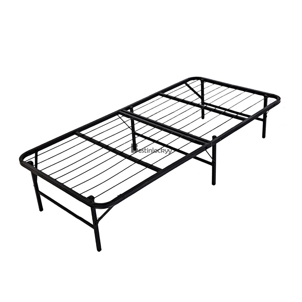 Folding Detachable Twin Size Slat Metal Platform Bed Frame