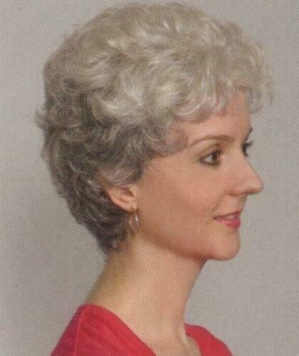Gray Short Wavy/Curly Wig Tapered Full Wig Salt & Pepper