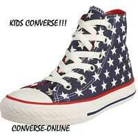 Kids Boy Girl CONVERSE All Star STARS HI TOP Blue White Red Trainers Boots UK 12