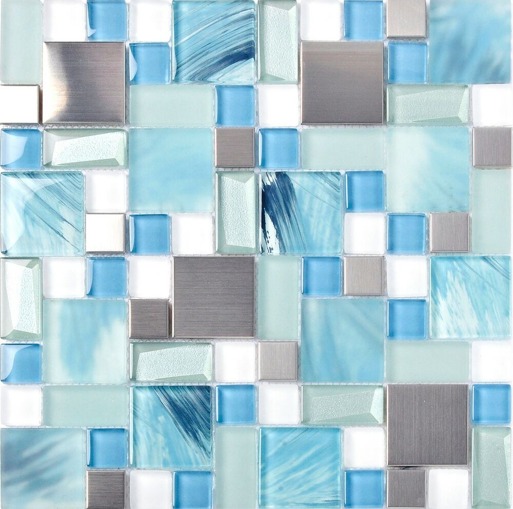 Glass hand painted mosaic tiles sea blue kitchen for Blue crackle glass bathroom accessories