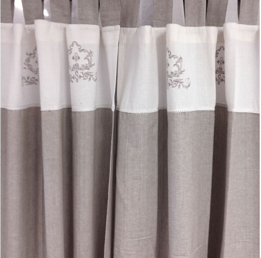 2 White Amp Linen Embroided Panels Shabby Hamptons Chic Pair