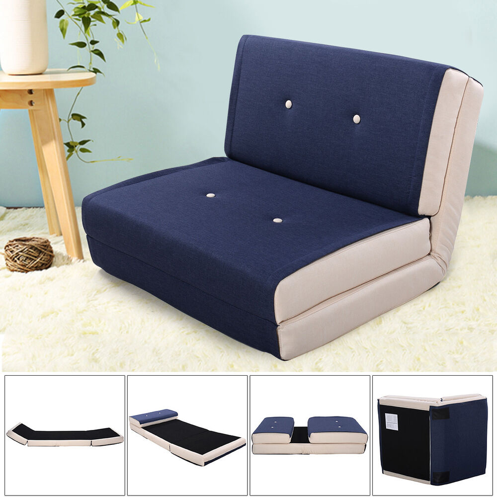 fold down chair flip out lounger convertible sleeper bed couch game dorm navy ebay. Black Bedroom Furniture Sets. Home Design Ideas