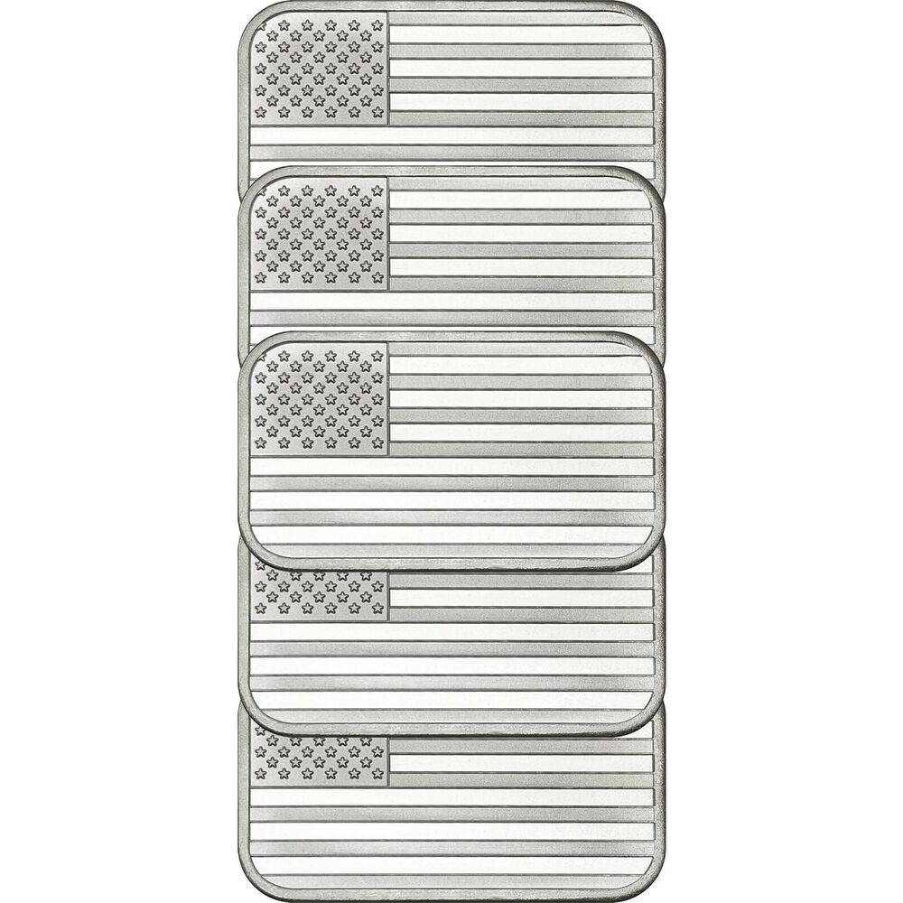 American Flag Bar By Silvertowne 1oz 999 Silver Bar 5pc