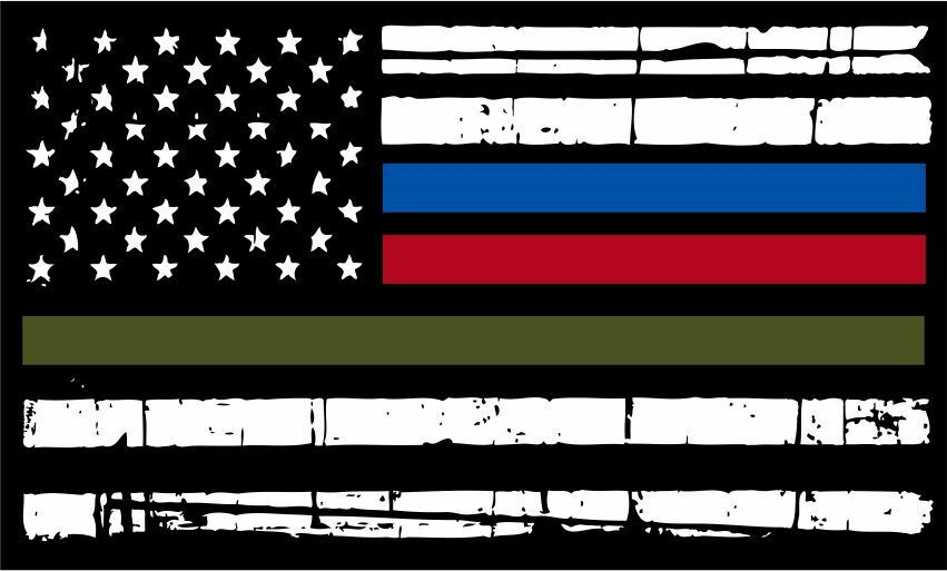 Thin Green Line Flag >> Thin Blue Line- Firefighter,Police,Military Tattered Flag Decal - Various Sizes | eBay