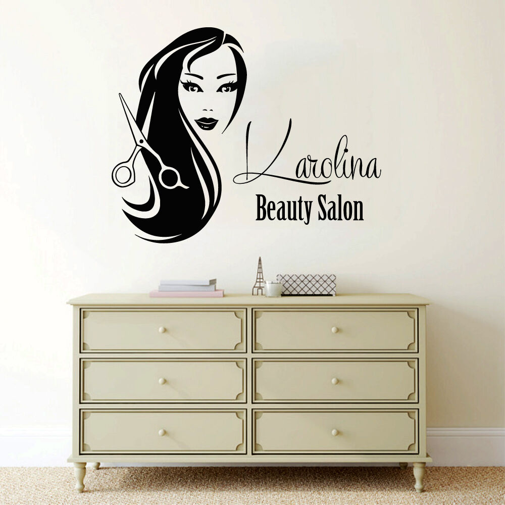 Custom logo hair salon wall decal name girl vinyl decal for Salon pictures for wall