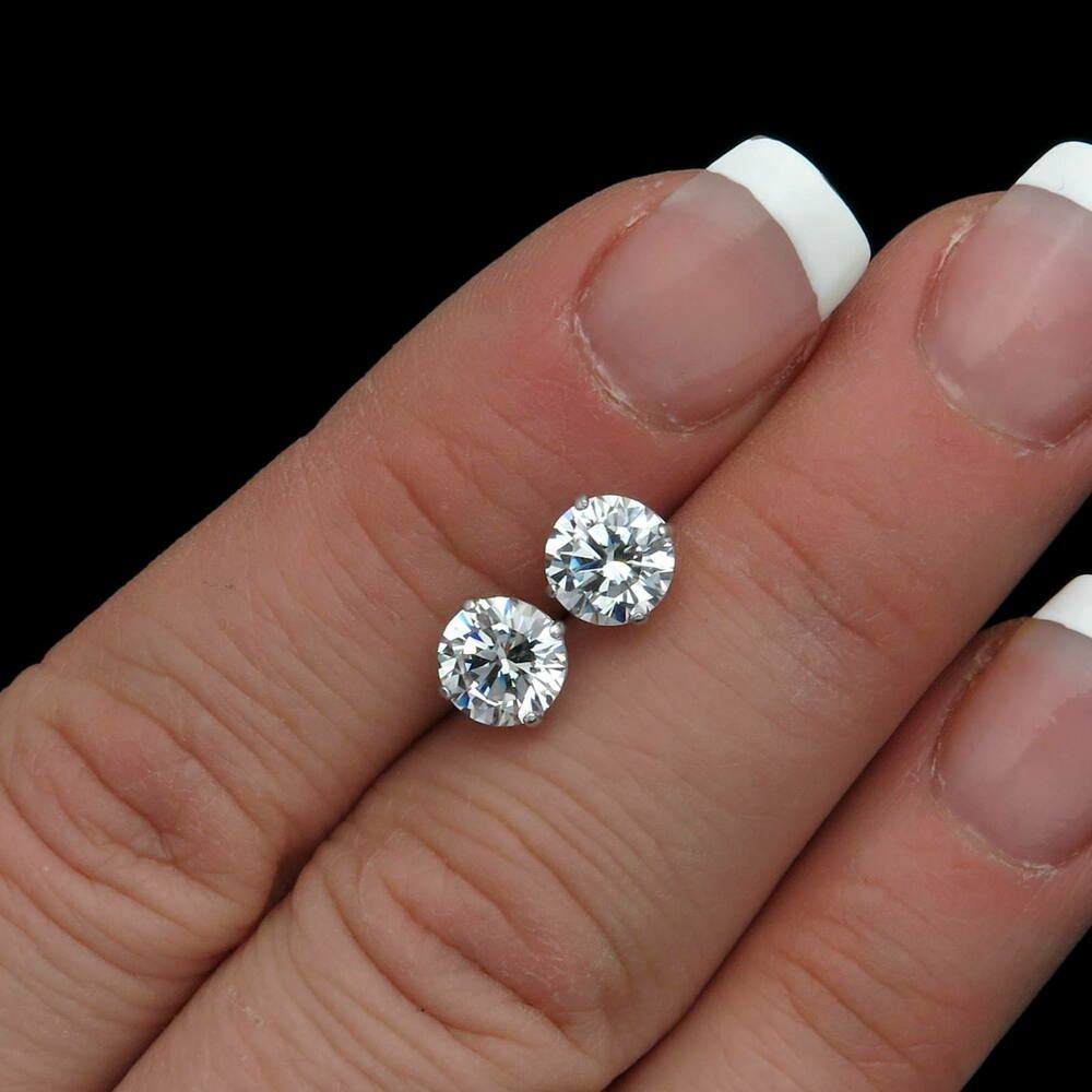2Ct Brilliant Created Diamond Earrings 14K Real White Gold ...